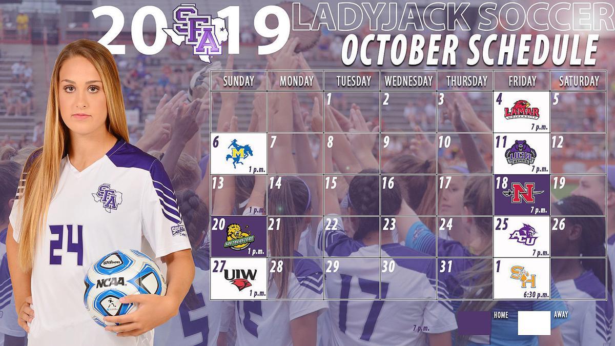 SFA Women's Soccer - October schedule