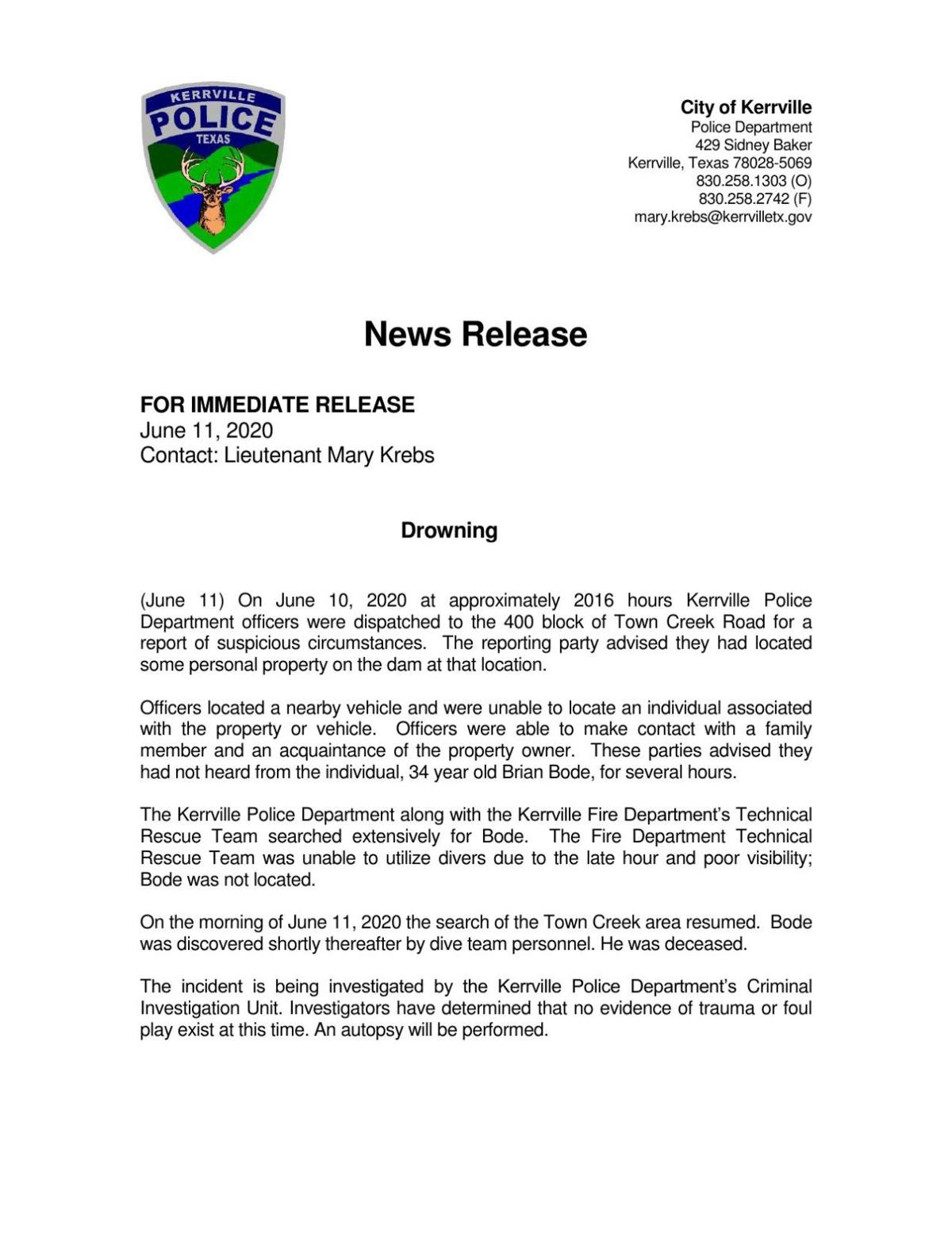 Drowning victim press release