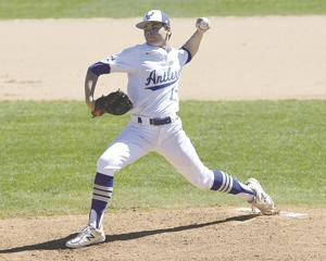 <p>Tivy's Coleson Abel begins his pitching motion during Tivy's 3-2 loss to New Braunfels on March 13. Abel's versatility has helped Tivy succeed this season.</p>