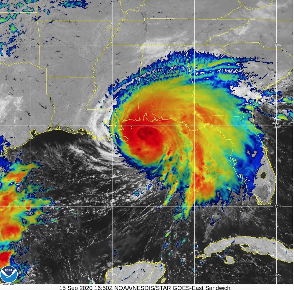 Tuesday morning satellite imagery of Hurricane Sally