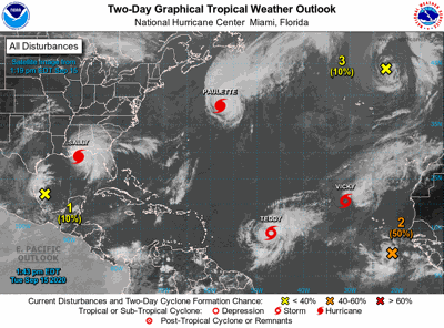 Graphical display of 7 storm systems in the Atlantic Basin Tuesday