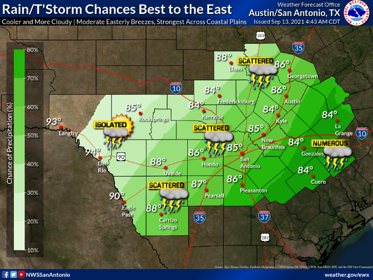 Hill Country forecast Monday