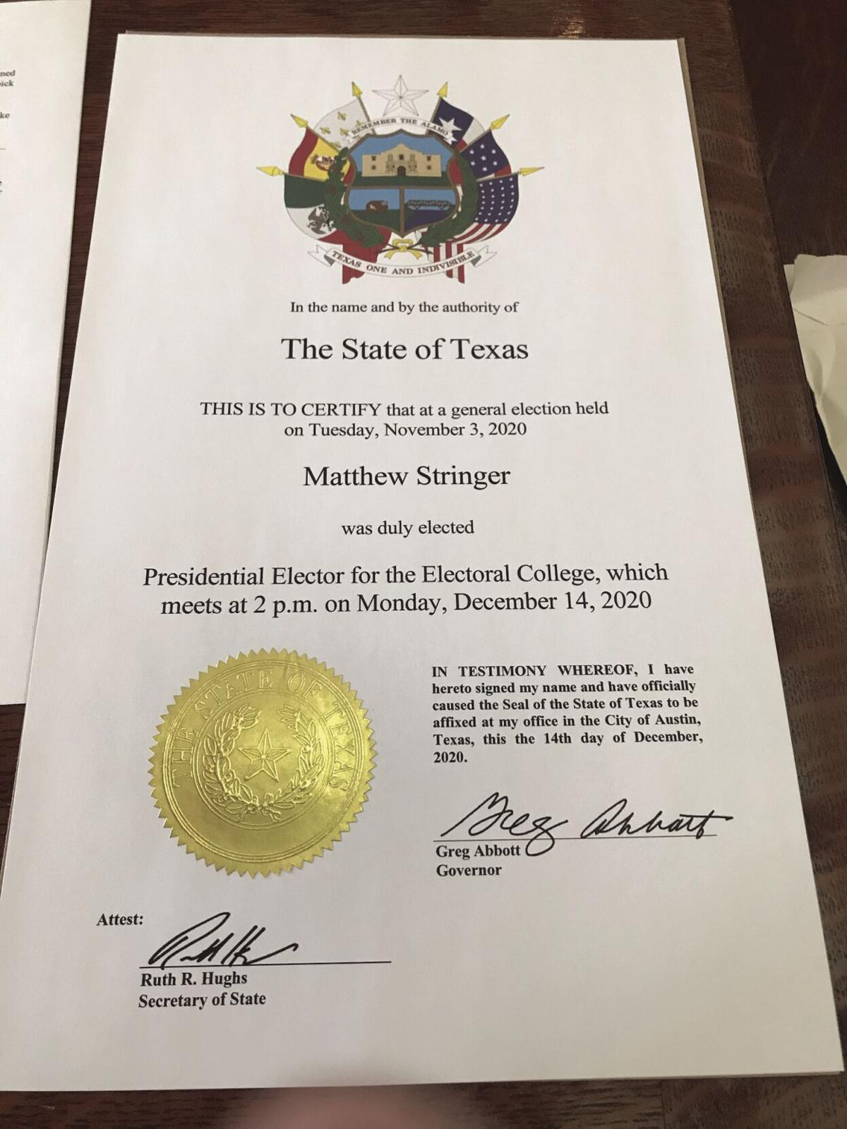 Certificate certifying an elector in Texas Electoral College