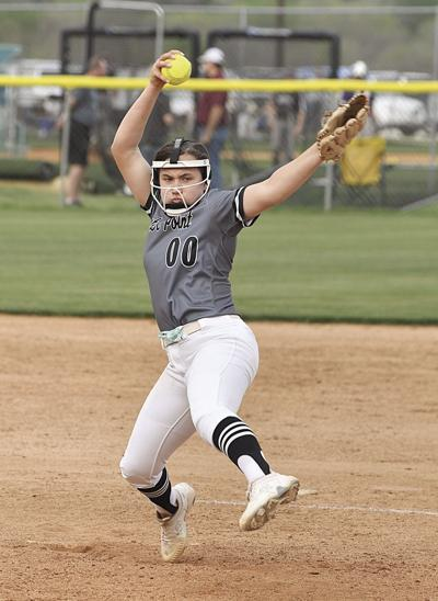 #00 Kaylee Blackledge delivers a fast ball for one of many strikes against San Saba Tuesday Night