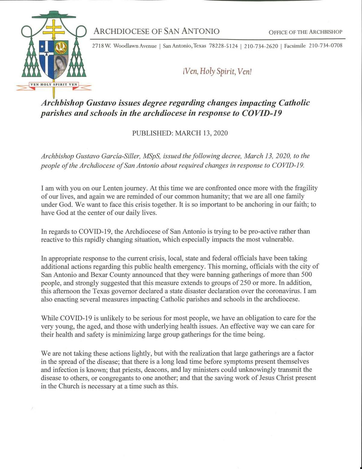 Message from the Archdiocese of San Antonio