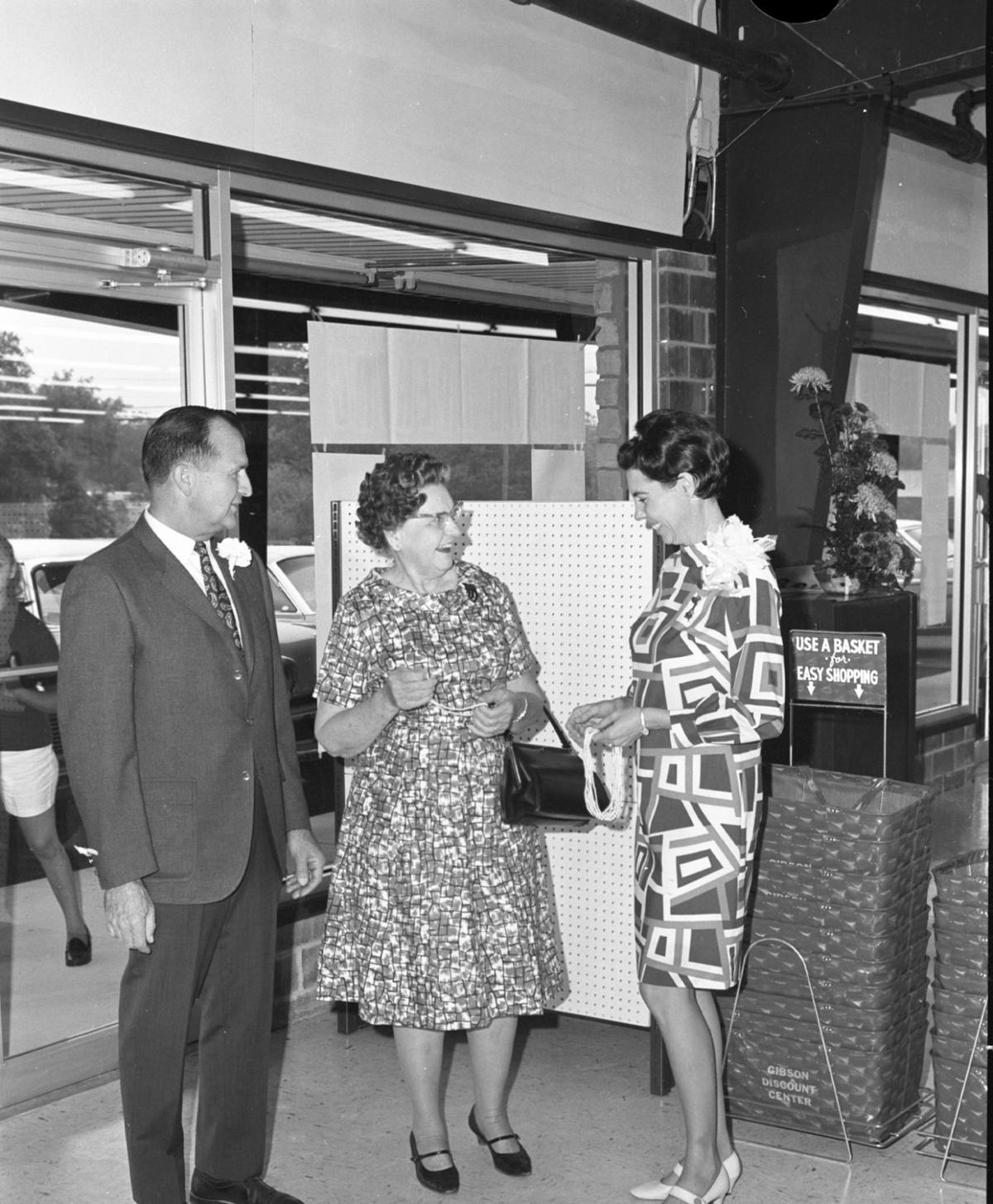 Greeting shoppers at Gibsons 1968