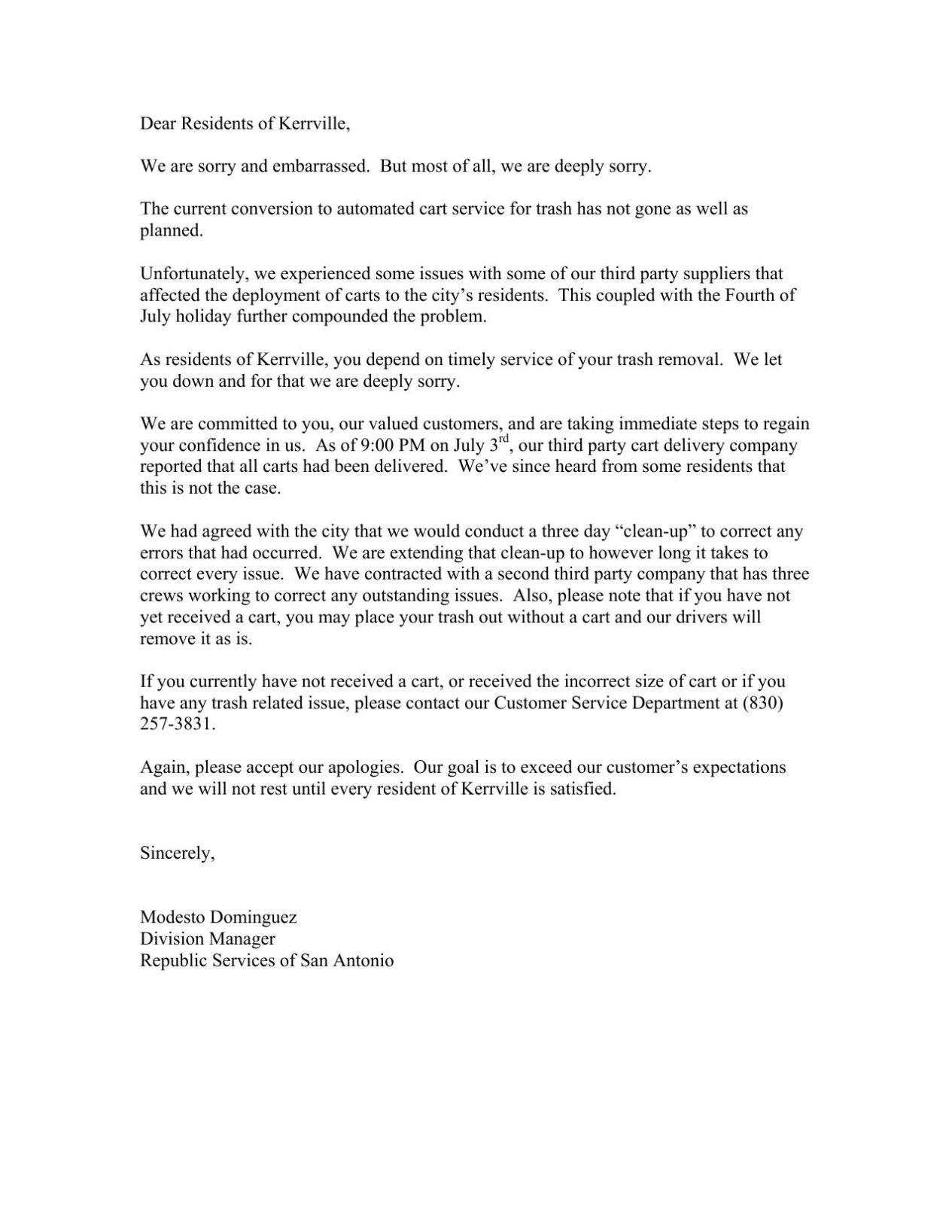 Republic Services apology letter Daily Times Home Republic