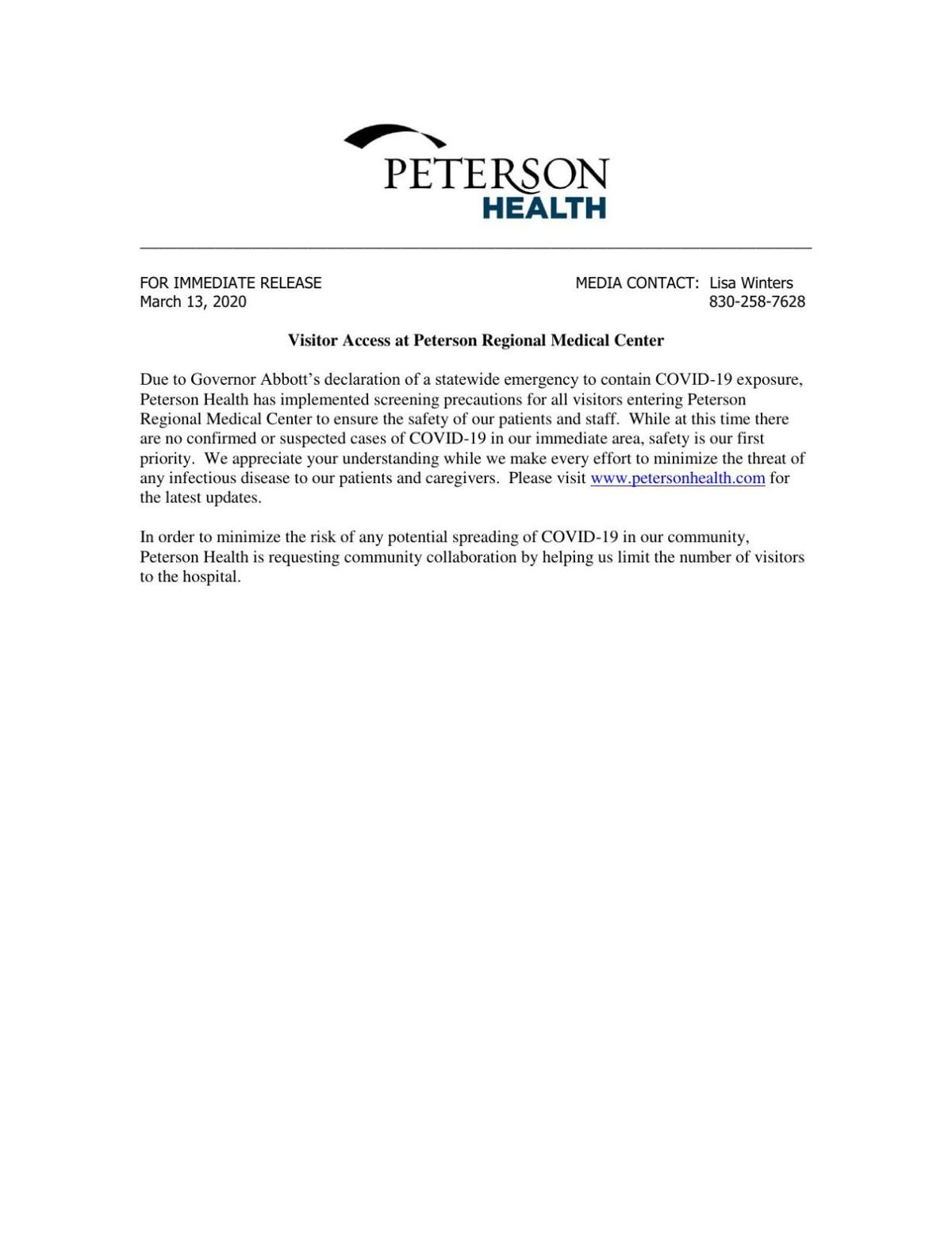 Statement from Peterson Health about visitor screenings