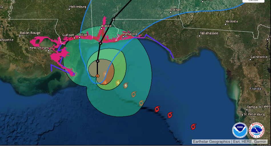 Hurricane Sally forecast path