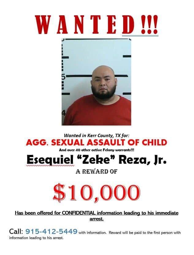 Wanted poster: Esequiel Reza Jr.