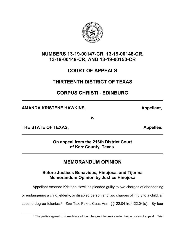 Memorandum Opinion in Hawkins appeal