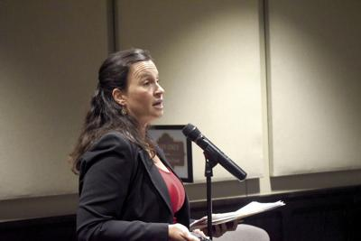 Head of Village Glen Neighborhood Association Jennyth Peterson addresses her concerns to P&Z Commission