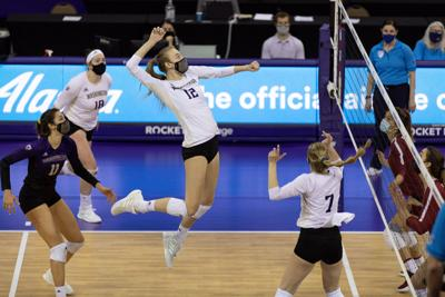 Serving powers Huskies to four-set win on the road