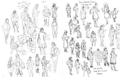 Sketching People Standing in Line