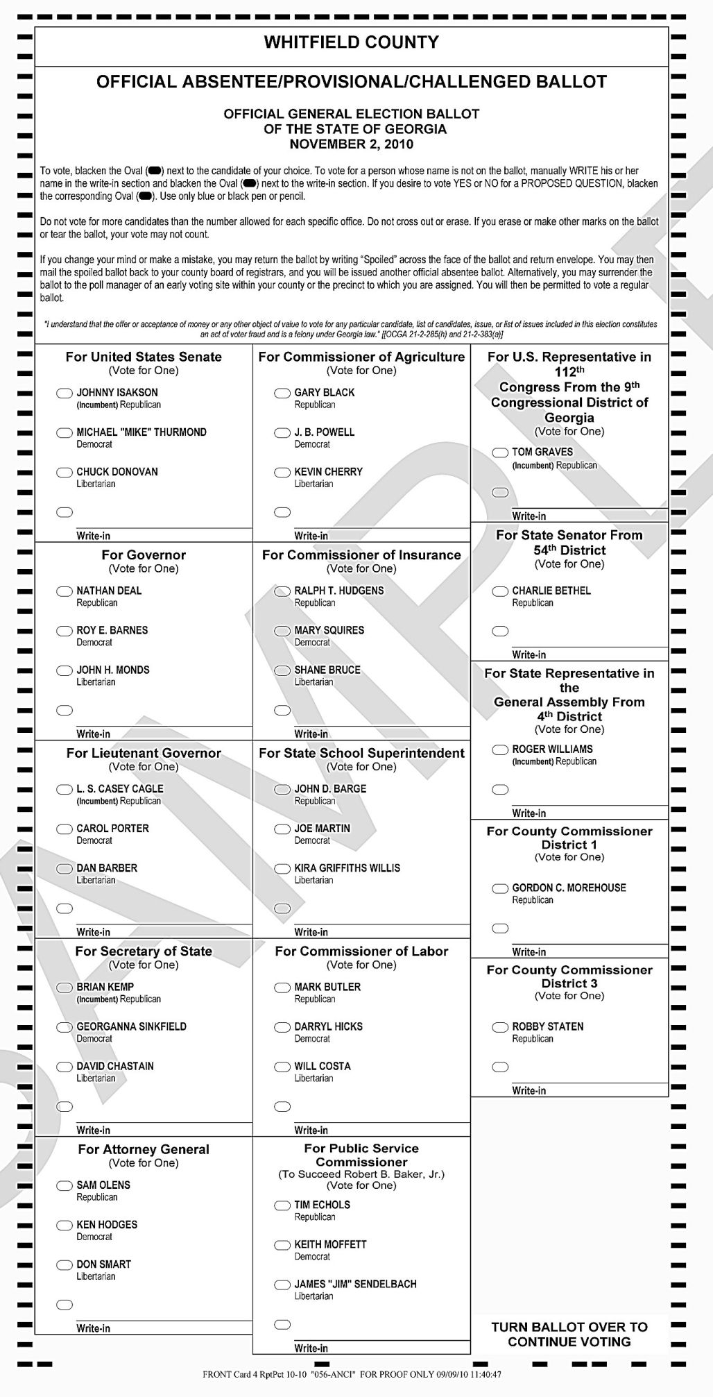 Sample ballots for Whitfield and Murray County | Local News ...