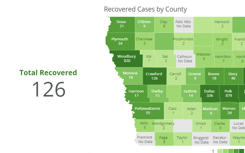 Recovered COVID-19 cases in Crawford County as posted on coronavirus.iowa.gov on 5-15-2020