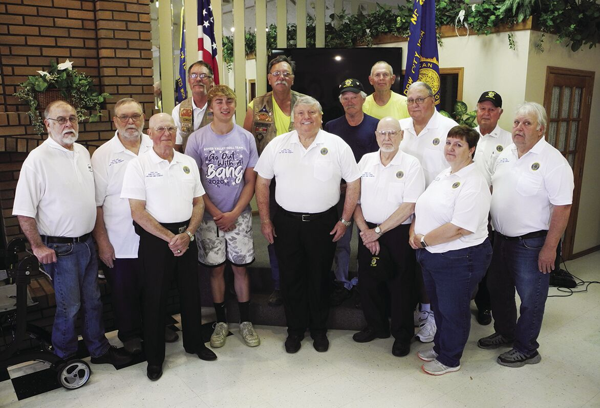 Trevor Malone with members of Dow City American Legion Post #444
