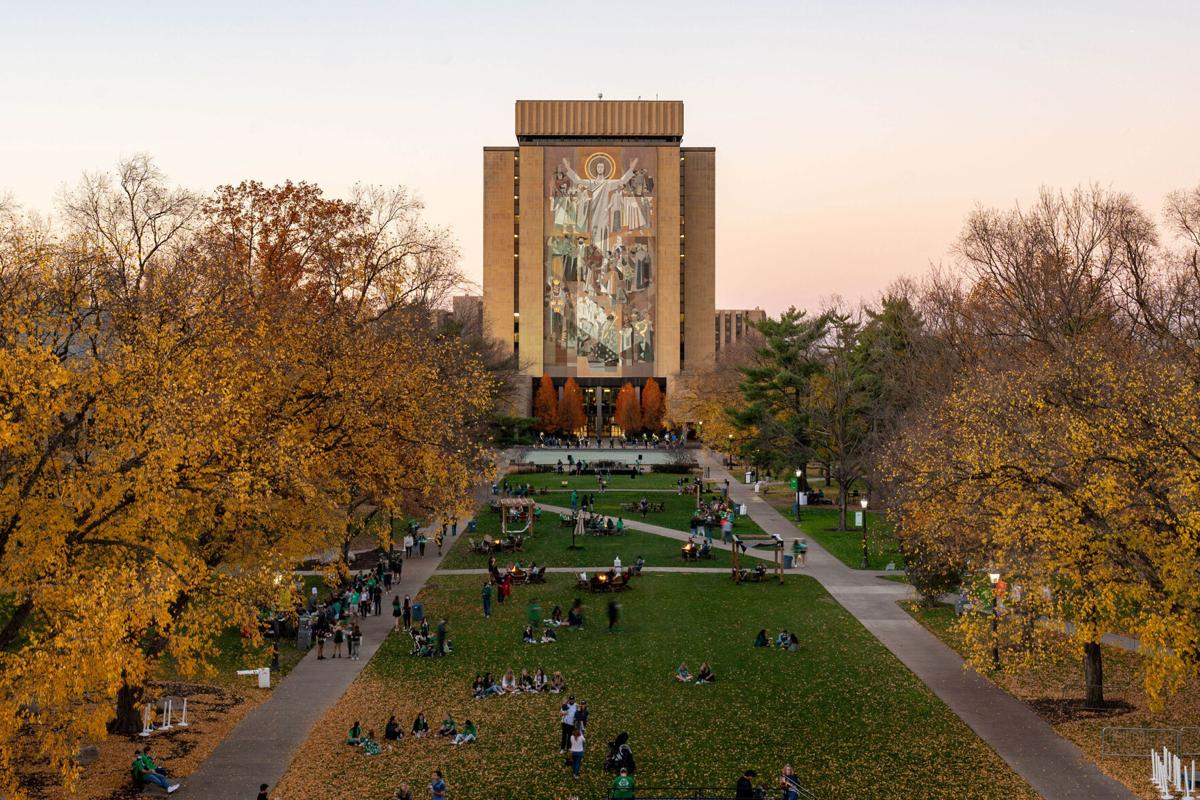 A general view of the Hesburgh Library and Word of Life mural, commonly known as Touchdown Jesus, before a game between the Notre Dame Fighting Irish and the Clemson Tigers at Notre Dame Stadium on November 7, 2020 in South Bend, Indiana.