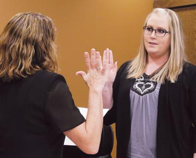 Brittany Okker, oath of office as council member, 4-3-2018