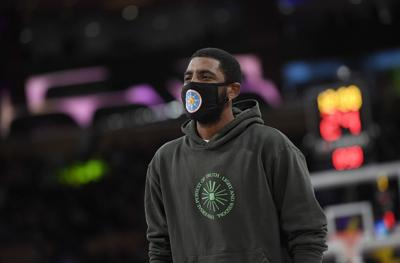 Kyrie Irving of the Brooklyn Nets during a preseason game against the Los Angeles Lakers at Staples Center on Oct. 3, 2021 in Los Angeles.