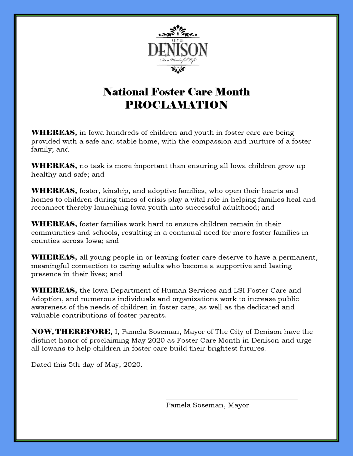 National Foster Care Month proclamation