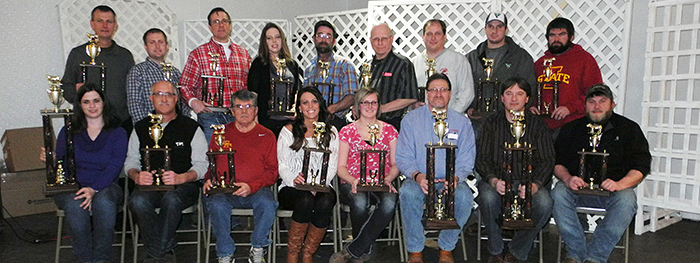 Trophy buyers are, front, from left: Theresa Grote, Community Bank, Ute; Roger Kenkel, Aspinwall Coop Co.; Kenny Crawford, FSC; Sarah Tjaden, Adams Motor ...