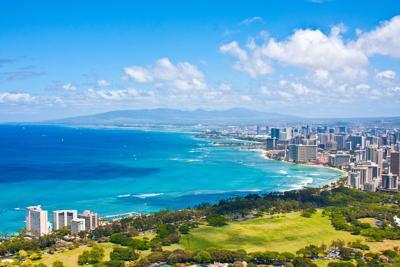 Skyline of Honolulu, Hawaii, taken from top of Diamond Head.