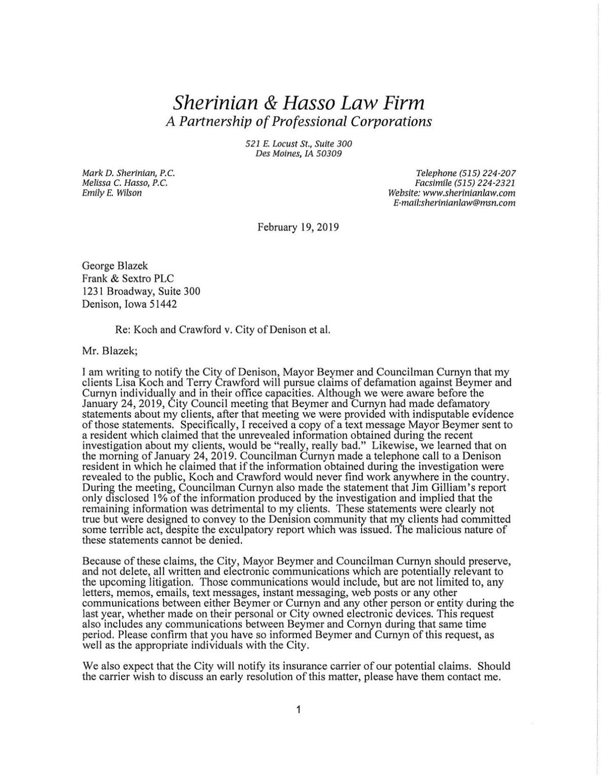 Sherinian Letter Of Intent To Sue