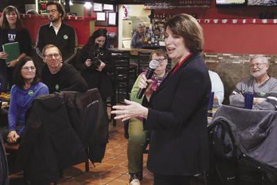 Democratic presidential candidate Amy Klobuchar at El Jimador in Denison, 12-22-2019