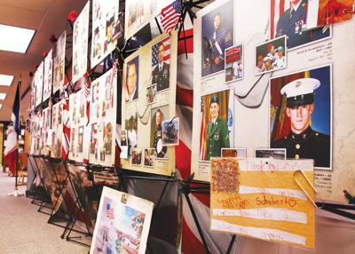 Memorial wall at library