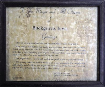 1952 certificate from City of Omaha to City of Buck Grove