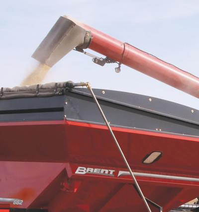 Unloading soybeans from a combine