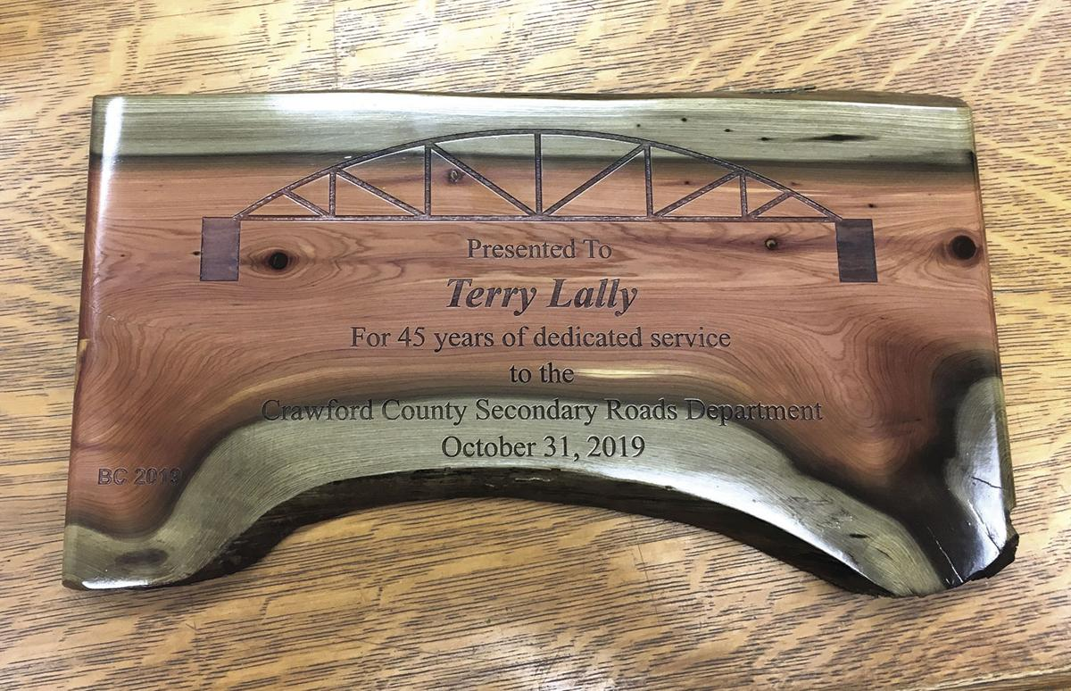 Plaque given to Terry Lally