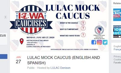 LULAC Denison Facebook invitation to mock caucus
