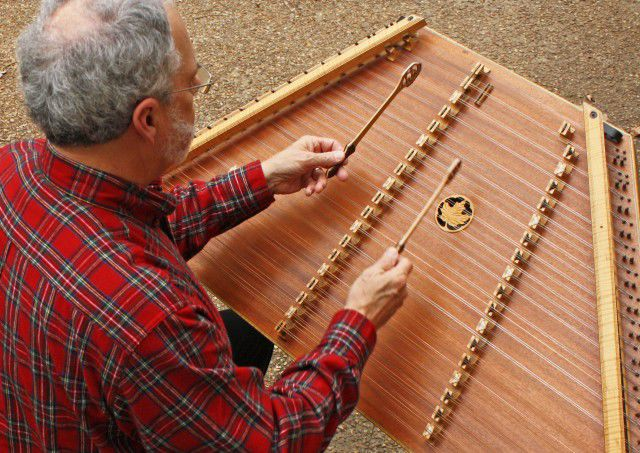 Timothy Seaman plays the hammered dulcimer