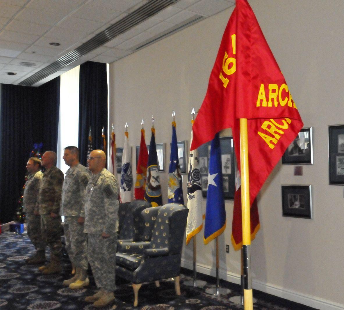 JADOC ToA Ceremony - Commanders with Task Force Archangel Guidon