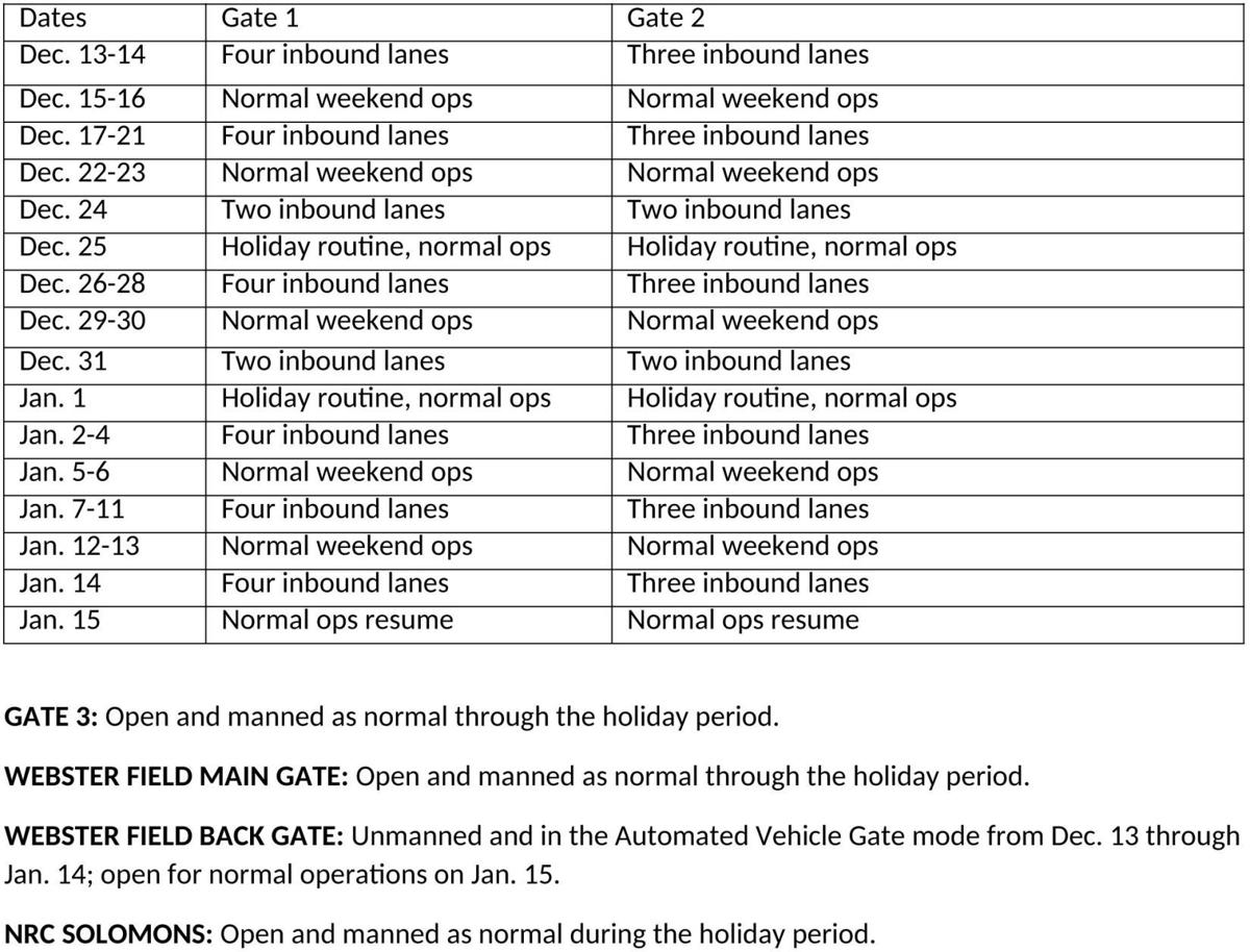 Holiday Gate Hours