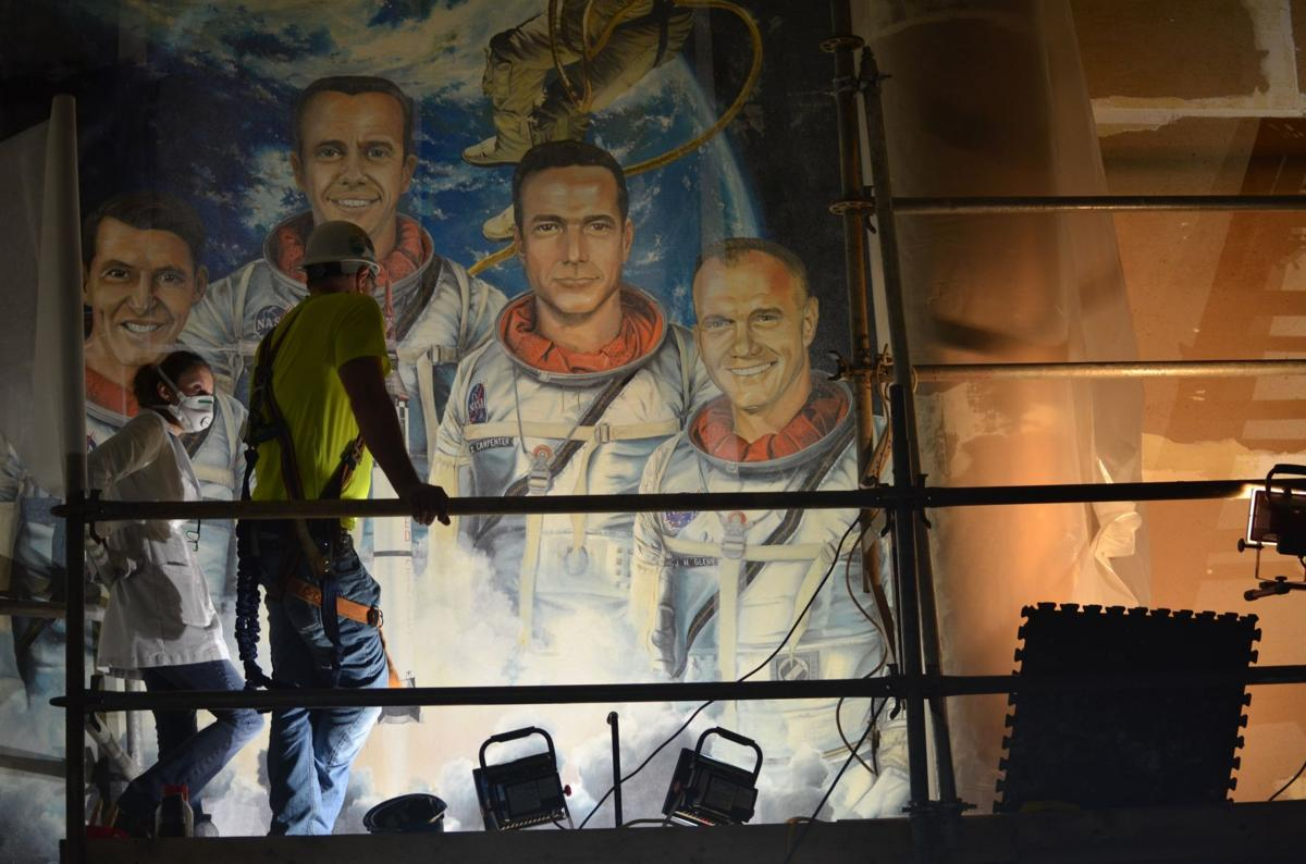 Painting of Mercury astronauts removed before O Club demolition