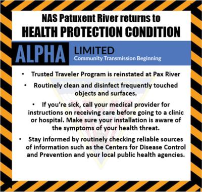 Pax River updates Health Protection Condition to Alpha