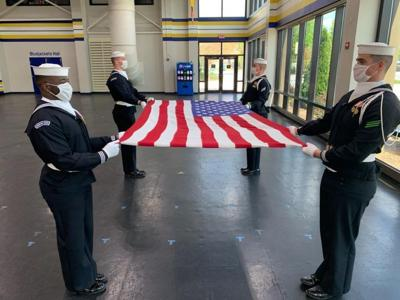 Navy Ceremonial Guard marches forward during COVID-19 pandemic