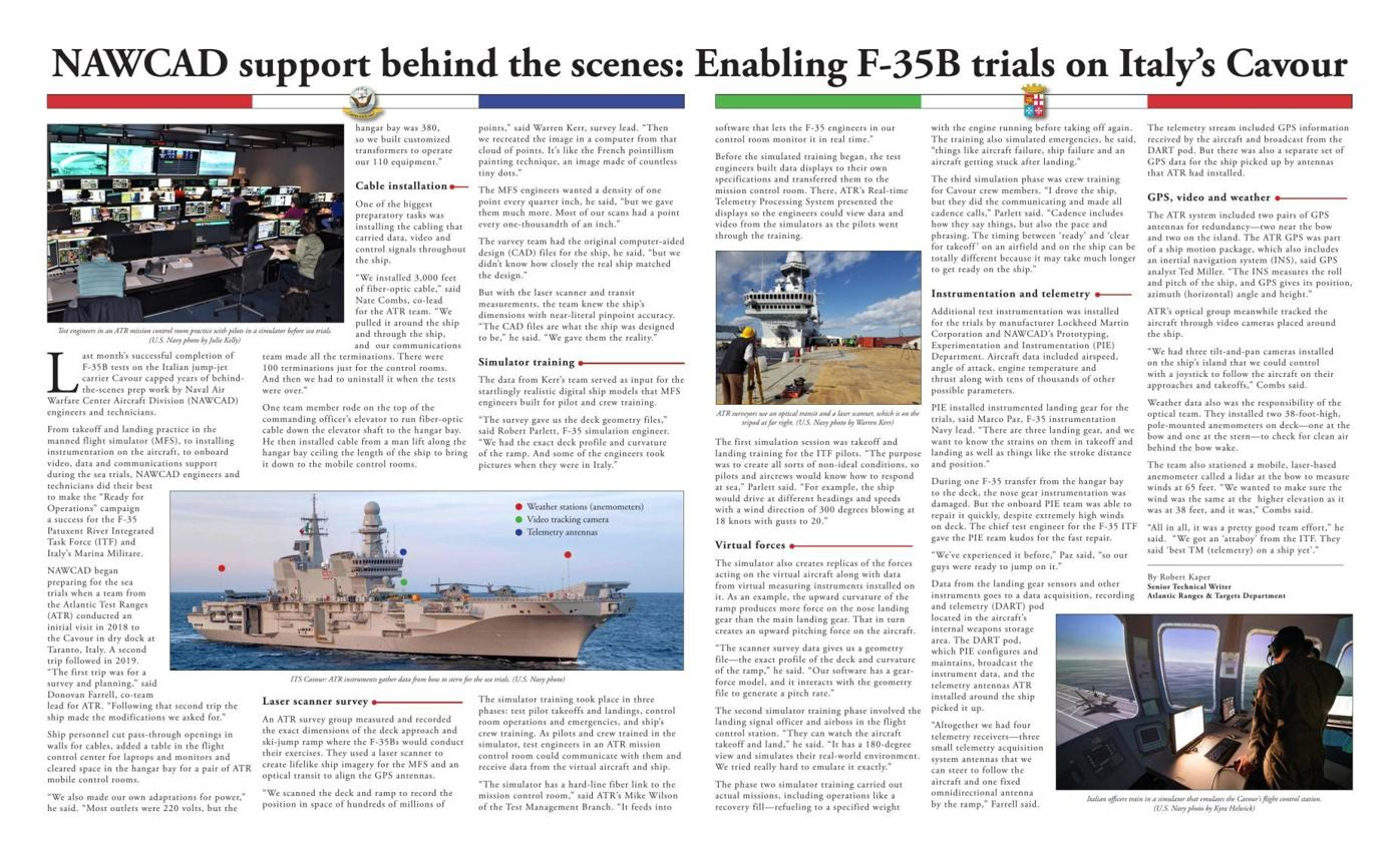 NAWCAD support behind the scenes: Enabling F-35B trials on Italy's Cavour