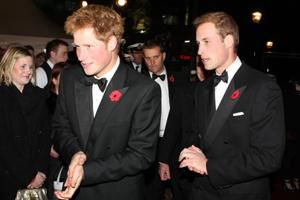 British princes William and Harry at 007 premiere