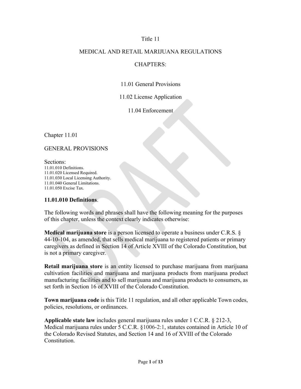 Cedaredge Draft Marijuana Regulations