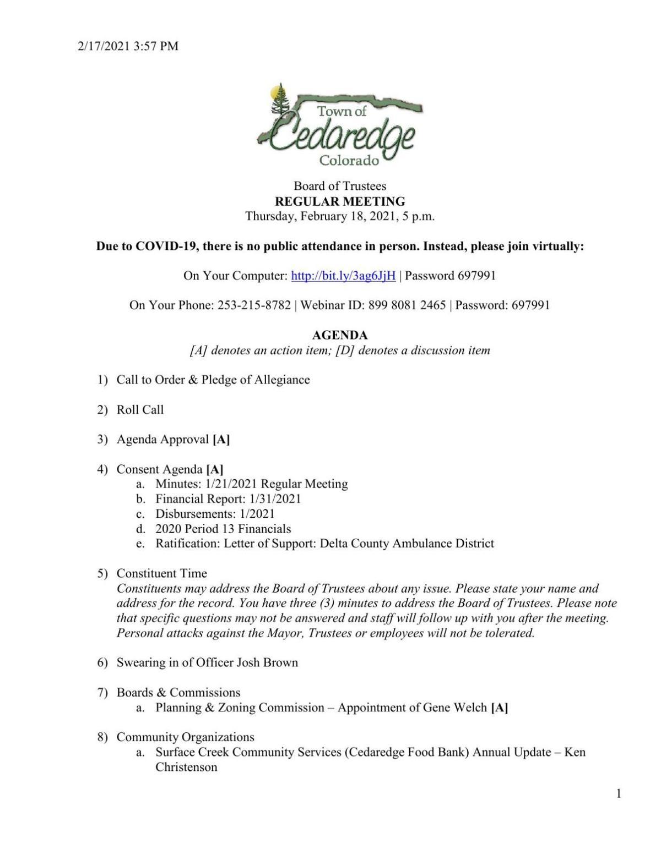 Feb. 18 Cedaredge town meeting agenda
