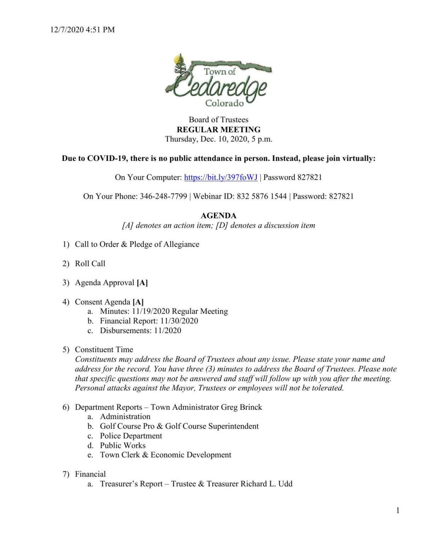 Dec. 10, 2020 Cedaredge town meeting packet