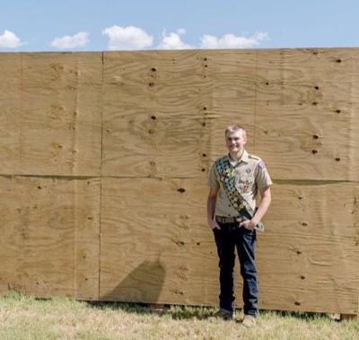 Eagle Scout candidate completes kick wall