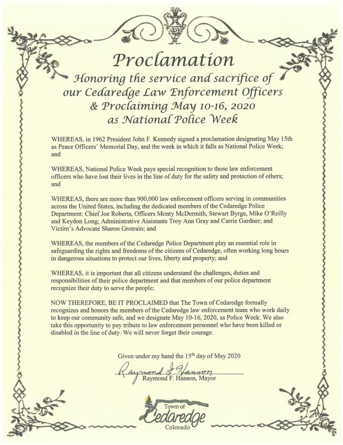 Police Week Proclamation, 2020