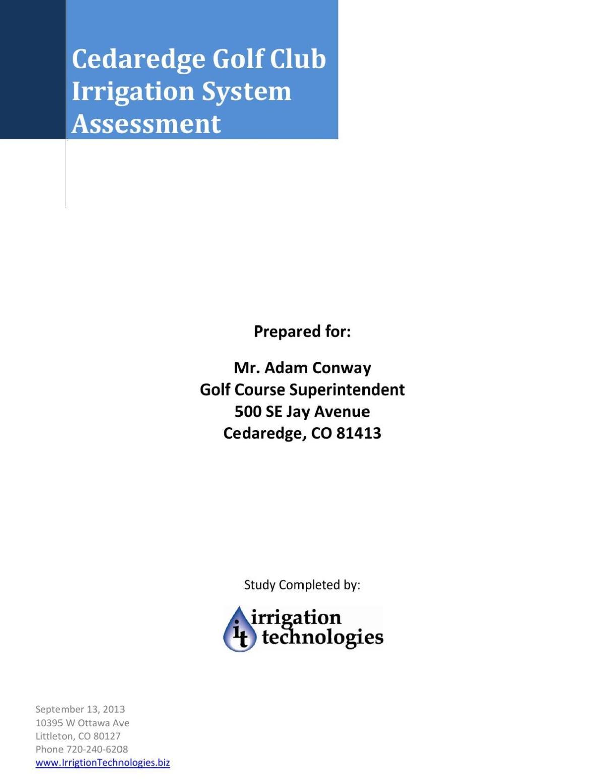 2013 Cedaredge Golf Club Irrigation System Assessment