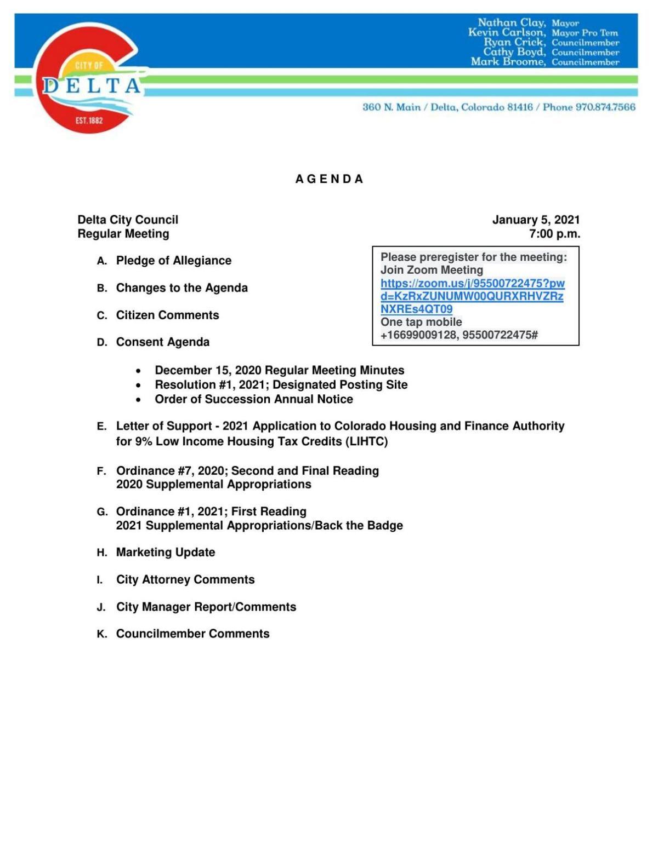 Jan. 5, 2021 Delta City Council packet
