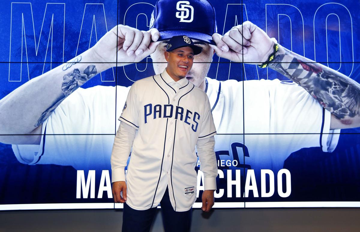 San Diego Padres introduce Manny Machado at a news conference on Friday, Feb. 22, 2019, in Peoria, Ariz. Machado agreed to a 10-year, $300 million contract with the Padres.